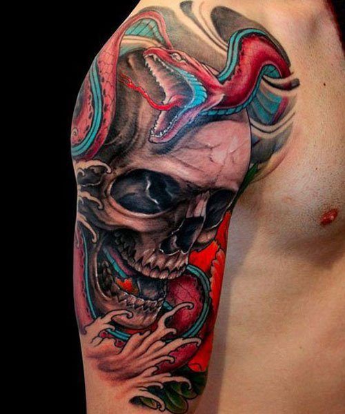 Skull Shoulder Tattoo Design Ideas