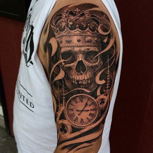 Skull with Crown Tattoo Design Ideas