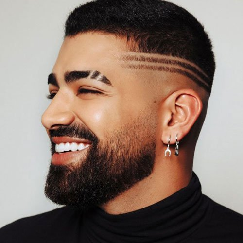 Two Shaved Lines in Fade Haircut Connecting To Double Slit