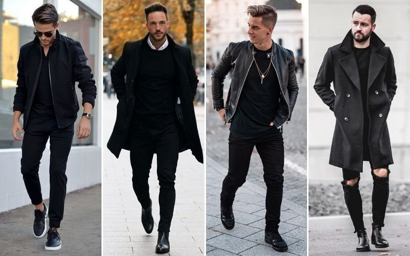 All Black Outfits For Men with Jackets and Coats
