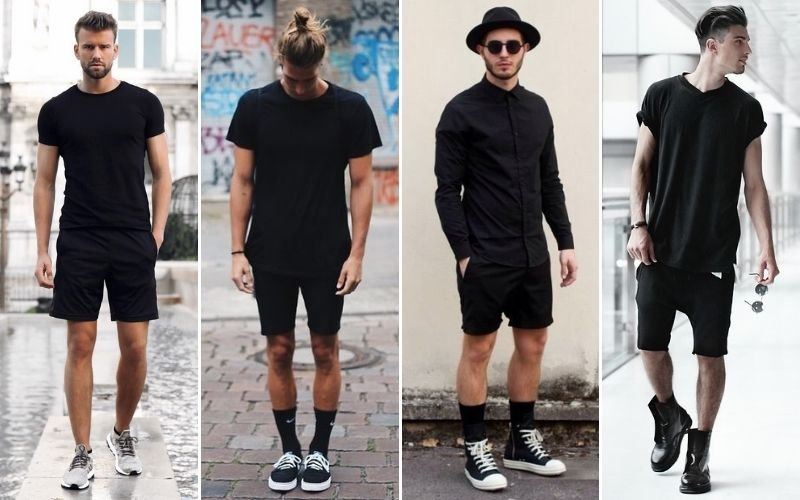 All Black Outfits Shorts Men