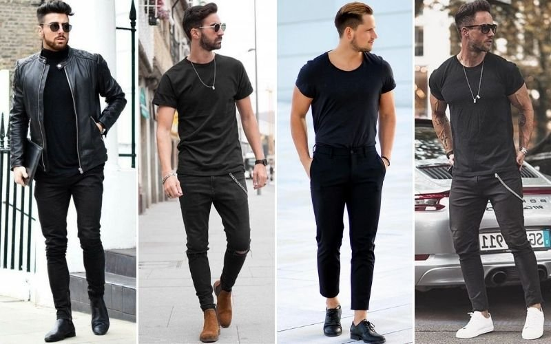 All Black Outfits with Shoes Men