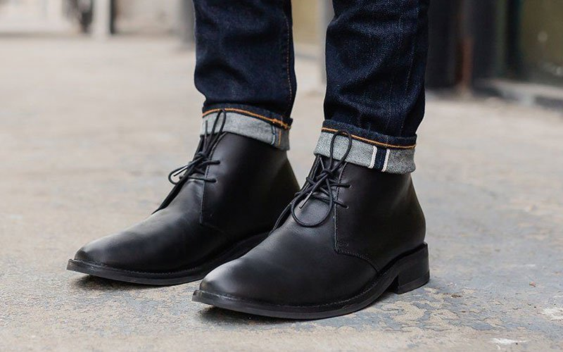 Black Leather Chukkas with Jeans