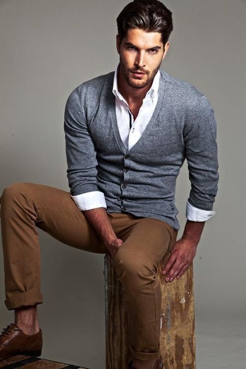 Cardigan with Button Down Dress Shirt