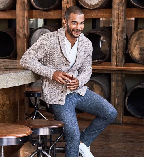 Men's Cardigan with Chino Pants