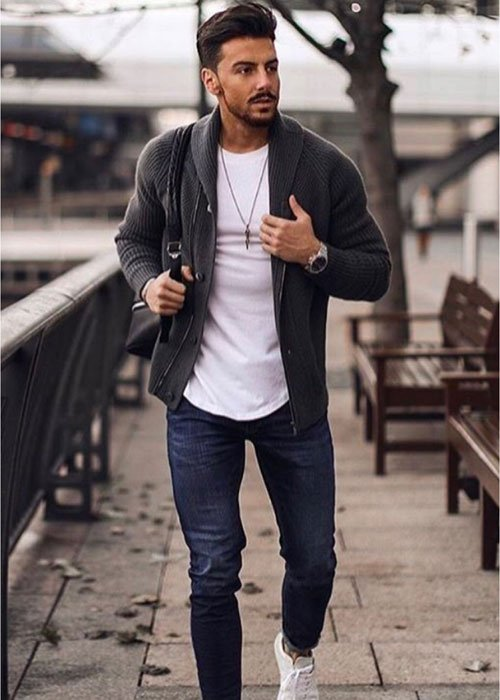 Men's Cardigan with Jeans Outfits