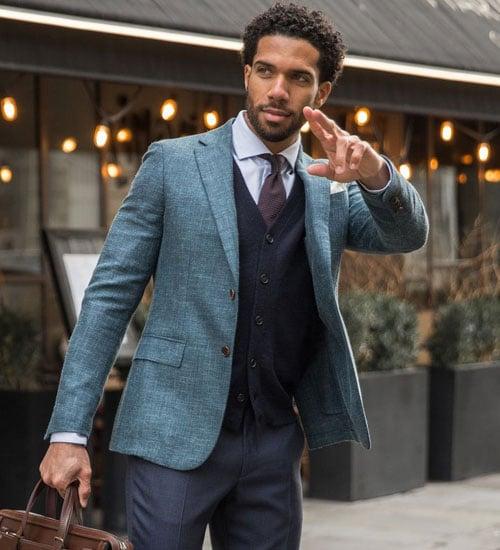 Men's Cardigan with Suit