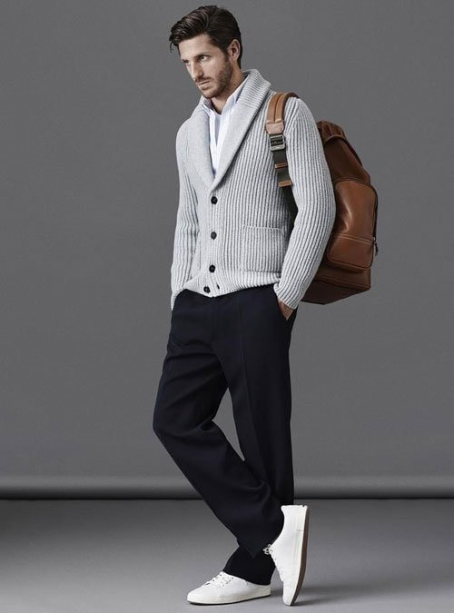 Shawl Collar Cardigan Outfits Men